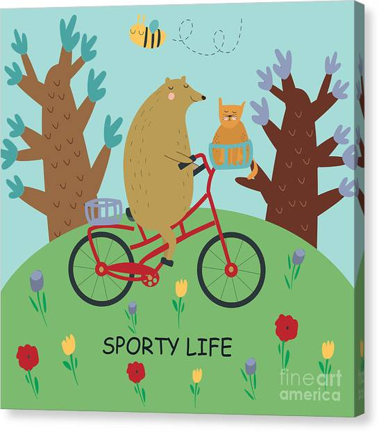 Cute Illustrations Of Bear Riding A Canvas Print by Kaliaha Volha