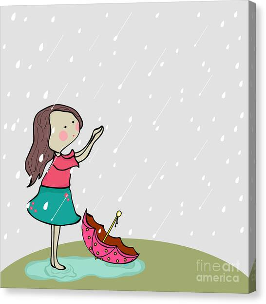 Happy Canvas Print - Cute Little Girl Enjoying Rains On by Allies Interactive