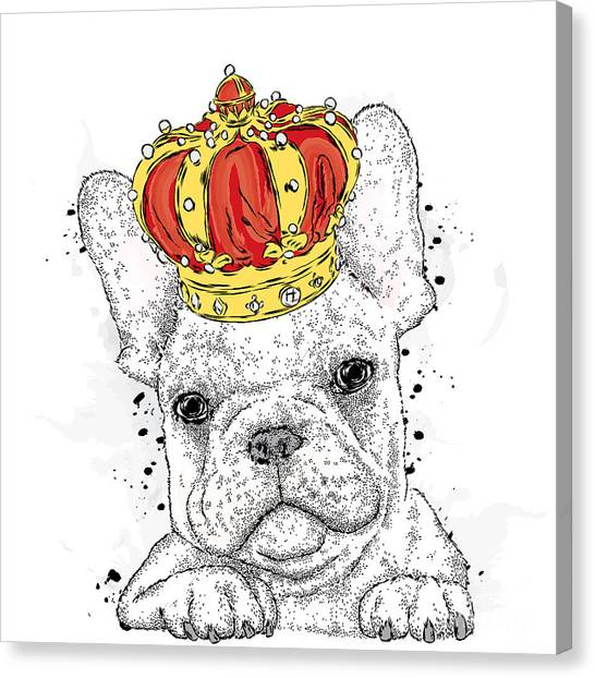 Watercolor Pet Portraits Canvas Print - Cute Puppy Wearing A Crown. French by Vitaly Grin
