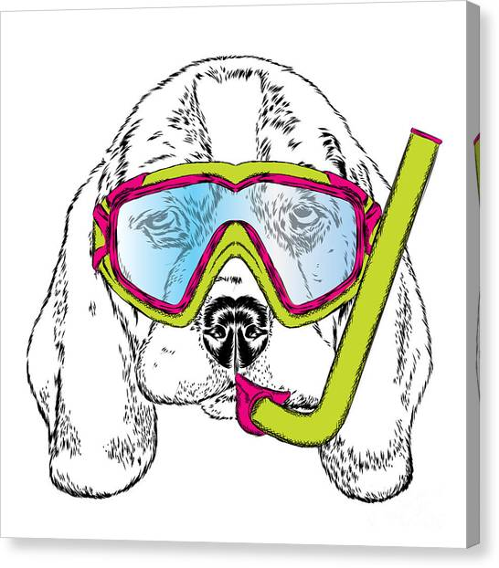 Clothing Canvas Print - Cute Puppy Wearing A Mask For Diving by Vitaly Grin