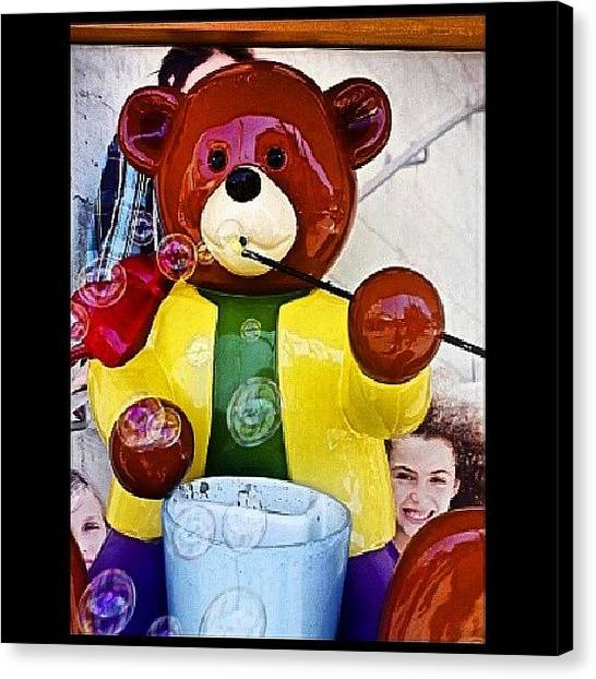 Teddy Bears Canvas Print - Cute Teddy Bear Bubble Machine by Steve Outram