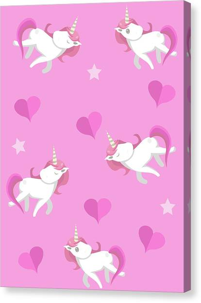 Printmaking Canvas Print - Cute Unicorns Seampless Pattern With by Larysa Amosova