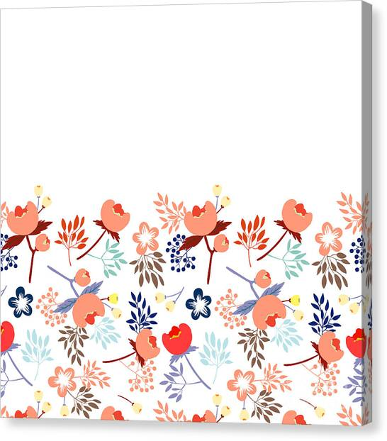 Cute Vector Seamless Pattern With Canvas Print by Vavavka