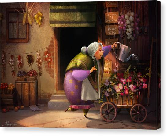 Shops Canvas Print - Cute Village Flower Shop by Kristina Vardazaryan