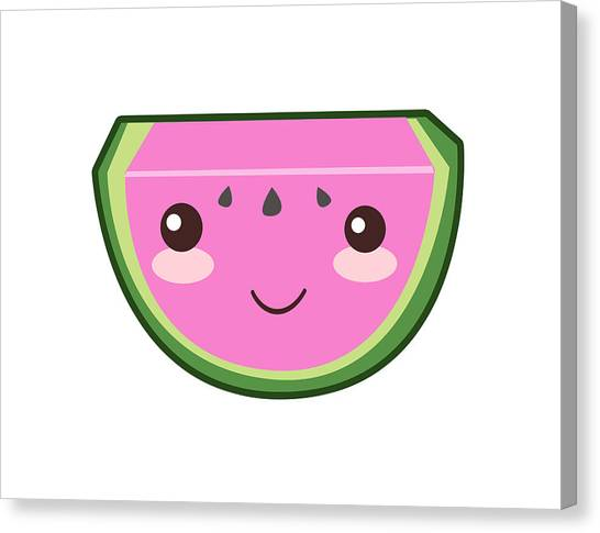 Watermelons Canvas Print - Cute Watermelon Illustration by Pati Photography