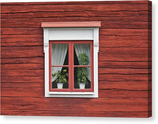 Cute Window On Red Wall Canvas Print