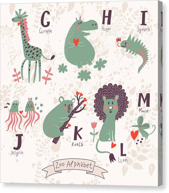 Mice Canvas Print - Cute Zoo Alphabet In Vector. G, H, I by Smilewithjul