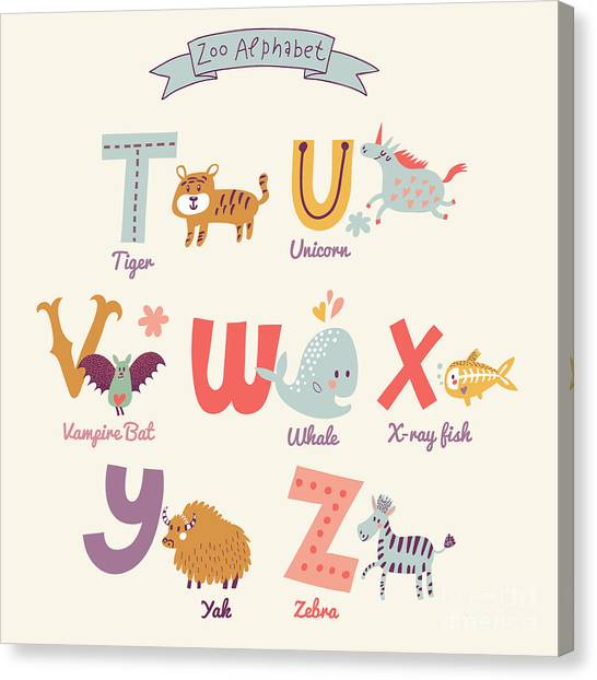 Yak Canvas Print - Cute Zoo Alphabet In Vector. T, U, V by Smilewithjul
