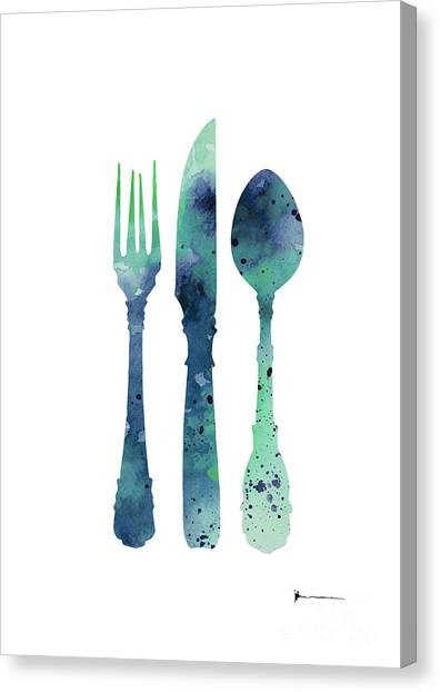 Watercolor Canvas Print - Cutlery Silhouette Art Print Watercolor Painting by Joanna Szmerdt