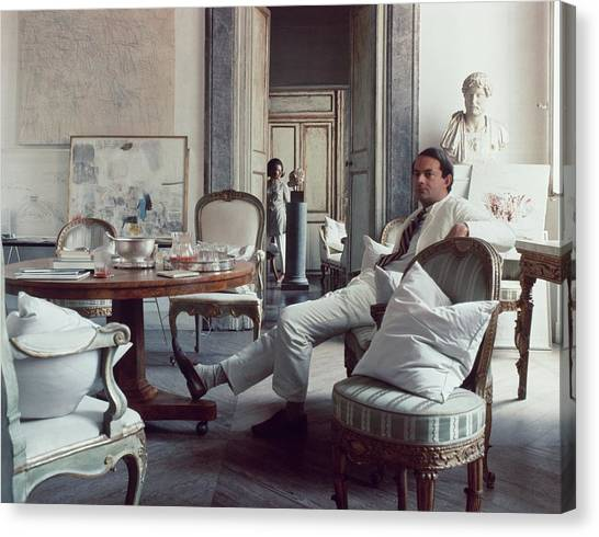 Cy Twombly Sitting In His Apartment Canvas Print