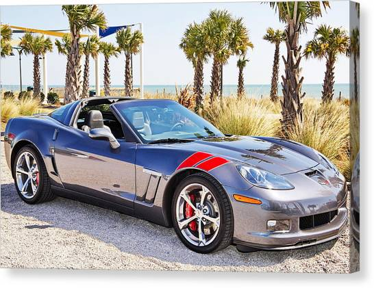 Cyber Gray Grand Sport Corvette At The Beach Canvas Print