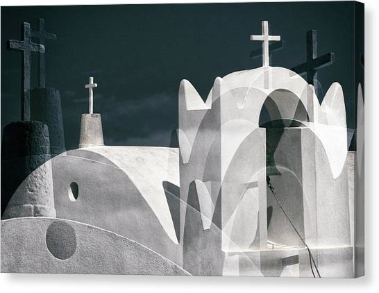 Church Canvas Print - Cycladen Crosses by Hans-wolfgang Hawerkamp