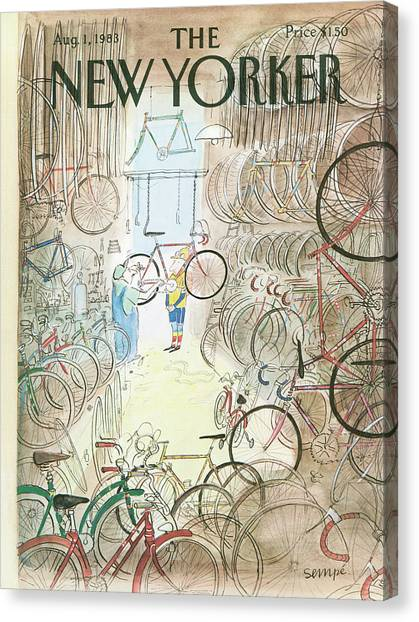 Repairs Canvas Print - Cycle Shop by Jean-Jacques Sempe