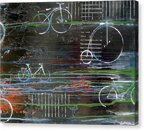 Cycling Across History Canvas Print by Vivian Mora