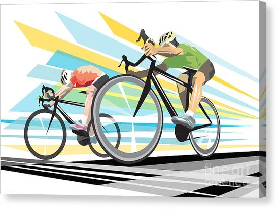Canvas Print featuring the digital art Cycling Sprint Poster Print Finish Line by Sassan Filsoof