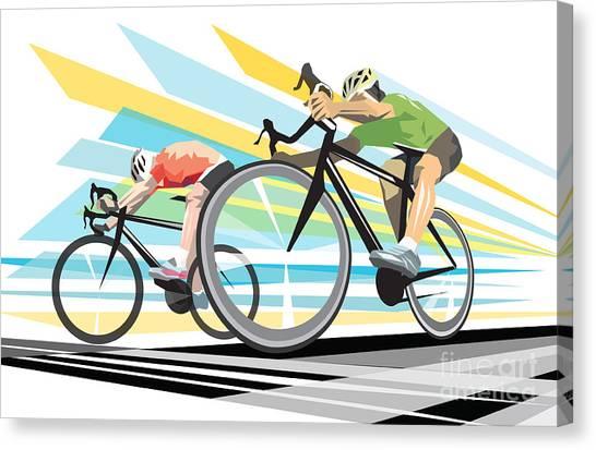 Biker Canvas Print - Cycling Sprint Poster Print Finish Line by Sassan Filsoof