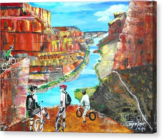 Cyclists In Grand Canyon Canvas Print