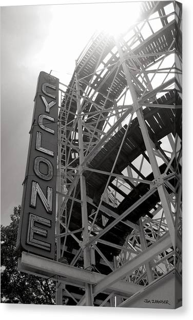 Cyclones Canvas Print - Cyclone Rollercoaster - Coney Island by Jim Zahniser