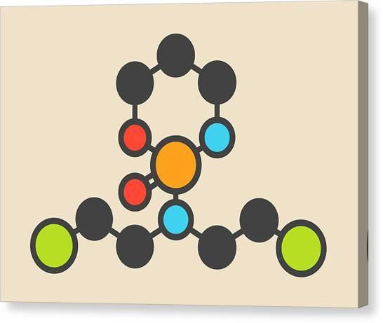 Mustard Canvas Print - Cyclophosphamide Cancer Drug Molecule by Molekuul