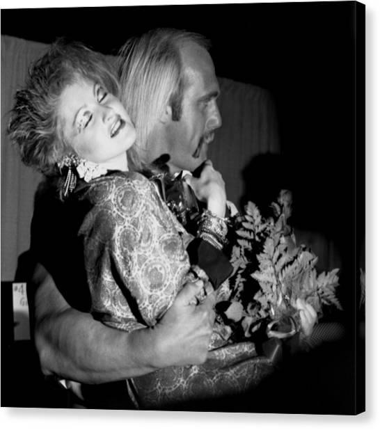 Hulk Hogan Canvas Print - Cyndi Lauper And Hulk Hogan by Nancy Clendaniel