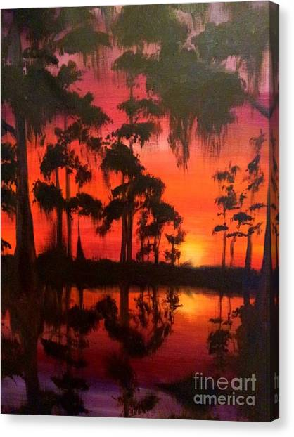 Cypress Swamp At Sunset Canvas Print