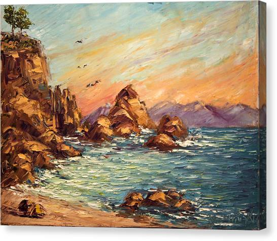 Cyprus Point Monterey Paint Along With Nancy Pbs Canvas Print by    Michaelalonzo   Kominsky