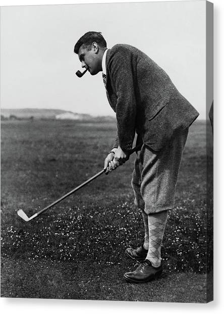 Cyril Tolley Playing Golf Canvas Print by Artist Unknown