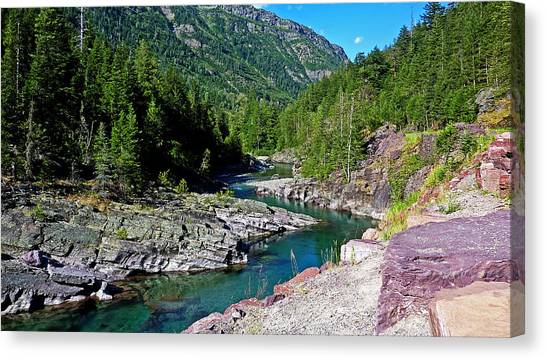 Glacier National Park Canvas Print - Cystal Clear Mcdonald Creek by Barry Inouye
