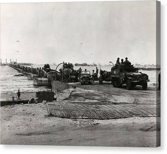 Pontoon Canvas Print - D-day Landings Harbour by Library Of Congress