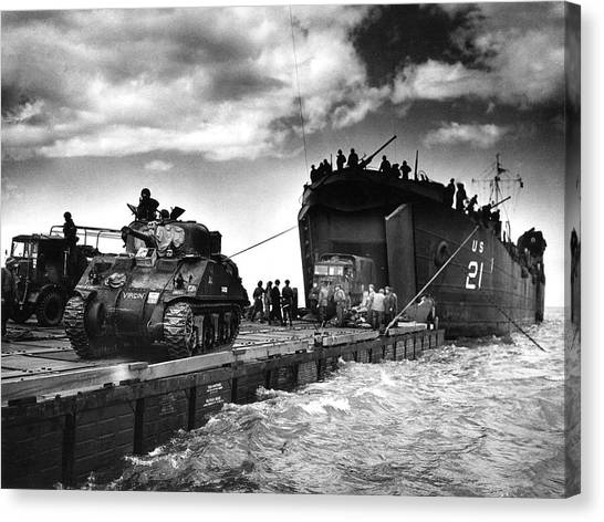 D-day Landings Harbour Canvas Print by Us National Archives