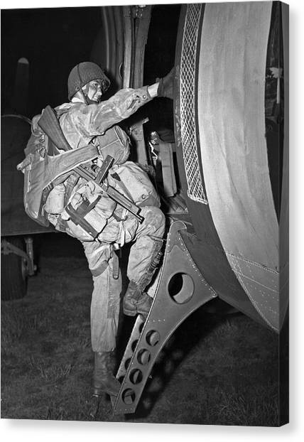 Paratroopers Canvas Print - D-day Paratrooper Ready by Underwood Archives