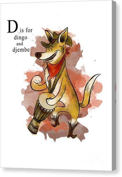 Djembe Canvas Print - D Is For Dingo by Sean Hagan