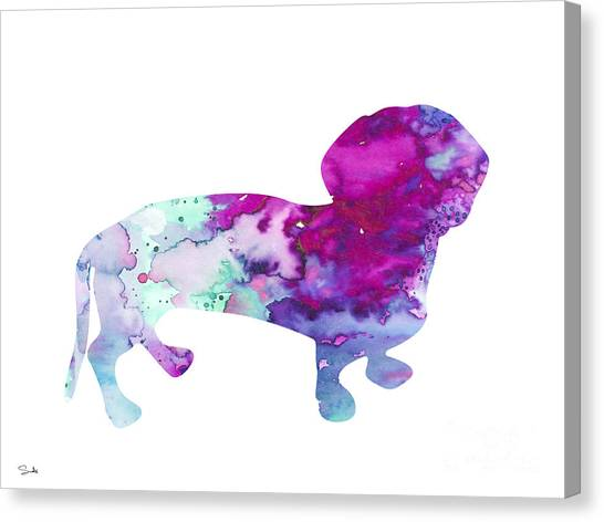 Dachshunds Canvas Print - Dachshund 2 by Watercolor Girl