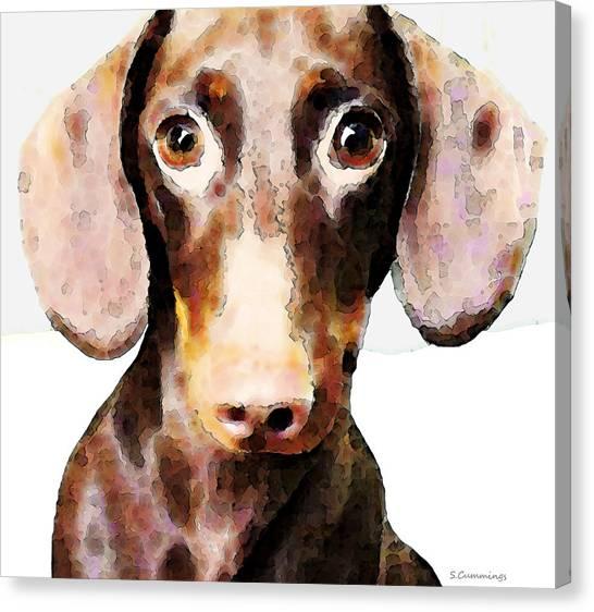 Dachshund Canvas Print - Dachshund Art - Roxie Doxie by Sharon Cummings