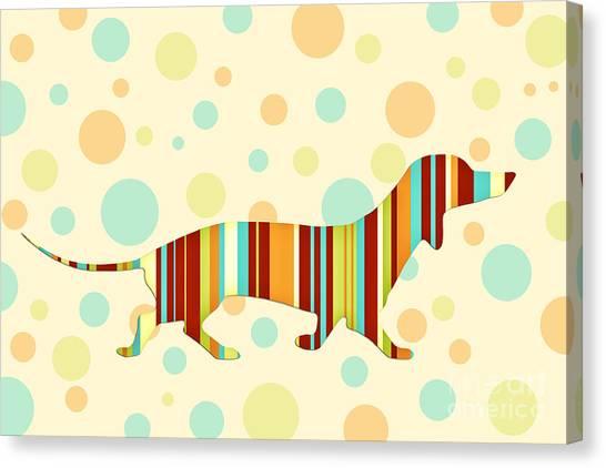 Dog Canvas Print - Dachshund Fun Colorful Abstract by Natalie Kinnear