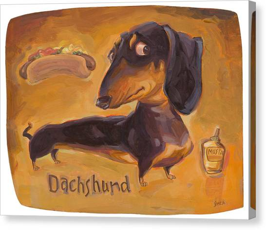 Hot Dogs Canvas Print - Dachshund Much More Than A Hot Dog by Shawn Shea