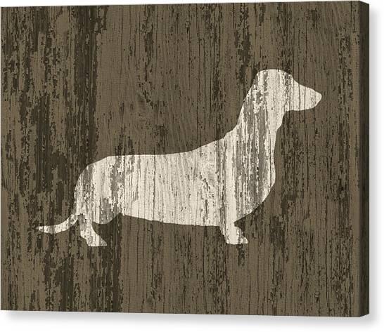 Dachshunds Canvas Print - Dachshund On Wood by Flo Karp