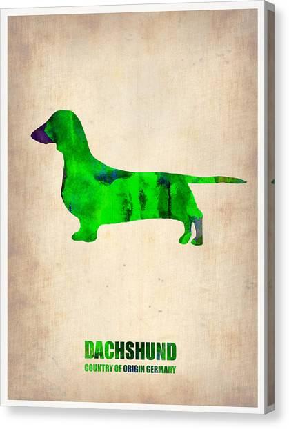 Puppies Canvas Print - Dachshund Poster 1 by Naxart Studio