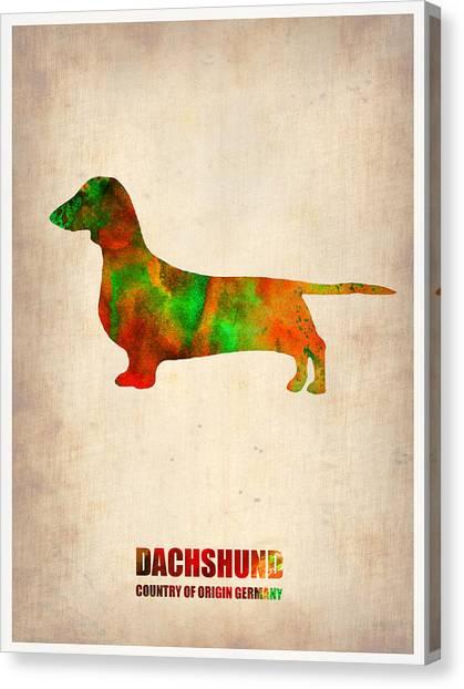 Puppies Canvas Print - Dachshund Poster 2 by Naxart Studio