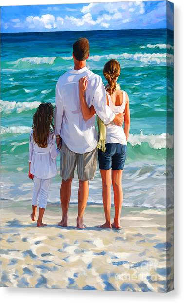 Dad And His Girls Canvas Print