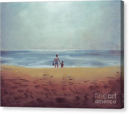 Daddy At The Beach Canvas Print