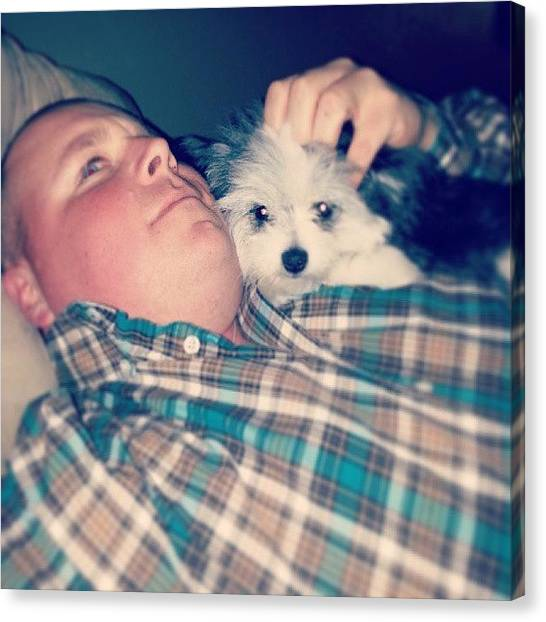 Flannel Canvas Print - Daddy Baby Moment Lol #sophie #pomie by Becky Gonzalez