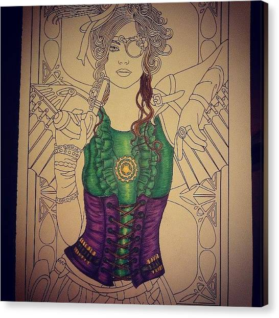 Steampunk Canvas Print - Daddy Finally Let Me Colour A Page In by Princess White