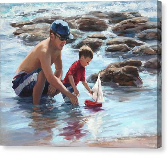 Father And Son Canvas Print - Daddy's Guiding Hands   by Laurie Hein