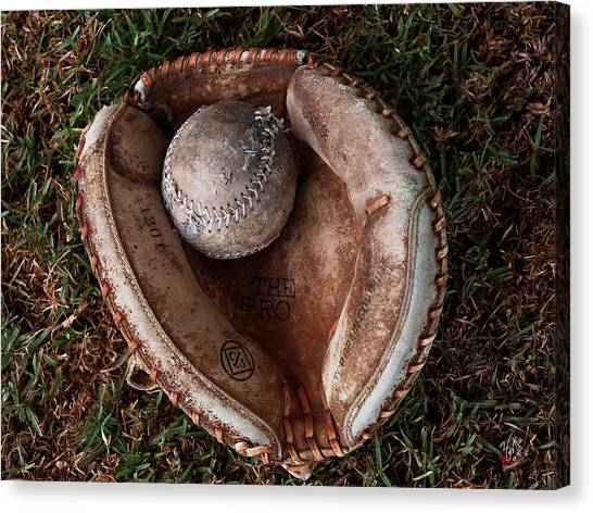 It Professional Canvas Print - Dad's Old Ball And Glove by Lorenzo Williams