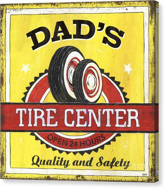 Dad Canvas Print - Dad's Tire Center by Debbie DeWitt