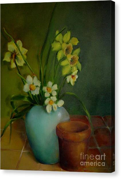 Daffodils                   Copyrighted Canvas Print by Kathleen Hoekstra