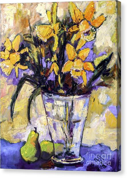 Daffodils And Pears Still Life Canvas Print