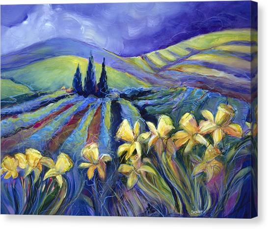 Daffodils Canvas Print - Daffodils And Stormclouds by Jen Norton
