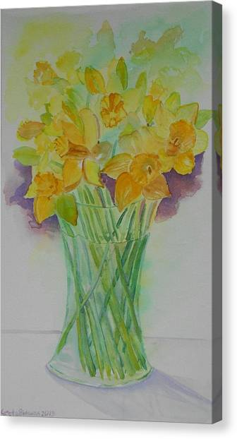 Daffodils In Glass Vase - Watercolor - Still Life Canvas Print